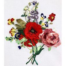 Набор для вышивания лентами, Букет с маком и пионом, 24x27, Любава