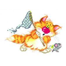 Набор для вышивания бисером Без кота - жизнь не та! Салочки, 24x26 (11x16), Матренин посад