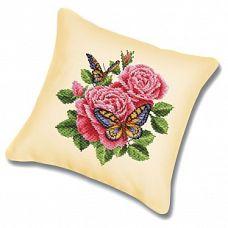 Набор для вышивания крестом Подушка Бабочки и розы, 45x45, Белоснежка