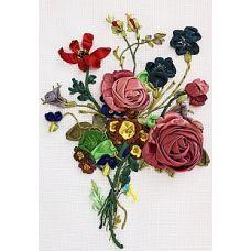 Набор для вышивания лентами, Букет с розами, 20x28, Любава