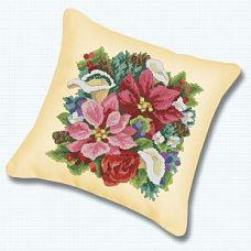 Набор для вышивания крестом Подушка Букет, 45x45, Белоснежка