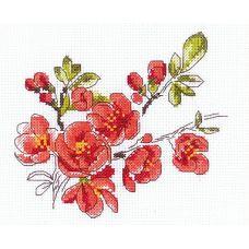 Набор для вышивания крестом Веточка цидонии, 13x16, Риолис, Сотвори сама