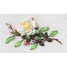 Набор для вышивания лентами, Чайная роза, 18x30, Любава
