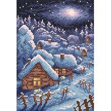 Алмазная мозаика Зимний пейзаж, 19x27, полная выкладка, Brilliart (МП-Студия)