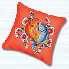 Набор для вышивания крестом Подушка Цветные рыбы, 45x45, Белоснежка
