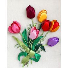 Набор для вышивания лентами, Тюльпаны, 34x41, Любава