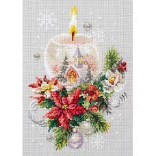 Набор для вышивания крестом Рождественская свеча, 16x23, Чудесная игла
