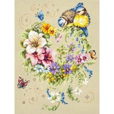 Набор для вышивания крестом Мелодия сердца, 26x34, Чудесная игла