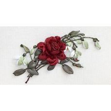 Набор для вышивания лентами, Бордовая роза, 18x31, Любава