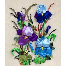 Набор для вышивания лентами, Ирисы, 23x41, Любава