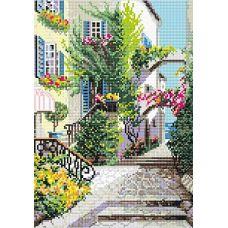 Алмазная мозаика Итальянский дворик, 27x38, полная выкладка, Риолис