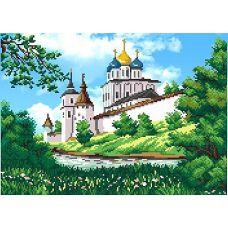 Рисунок на габардине Вид на монастырь, 40x50 (25x35), МП-Студия, Г-107