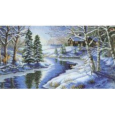 Набор для вышивания крестом Зимняя речка, 35x57, Белоснежка