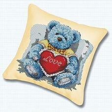 Набор для вышивания крестом Подушка Медвежонок с сердцем, 45x45, Белоснежка