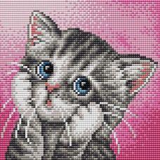 Алмазная мозаика на магнитной основе Серый котенок, 20x20, полная выкладка, Вышиваем бисером