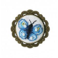 Набор для вышивания крестом Брошь Бабочка, 2,8x2,8, Золотое руно