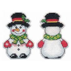 Набор для вышивания крестом Елочная игрушка. Снеговик, 5,5x8, Овен