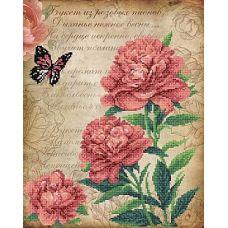 Рисунок на габардине Розовые пионы, 40x50 (28x35), МП-Студия, Г-166