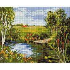 Алмазная мозаика Речная прохлада, 20x25, полная выкладка, Белоснежка
