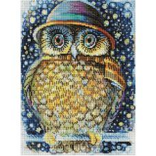 Алмазная мозаика Сова в шляпе, 30x40, полная выкладка, Белоснежка