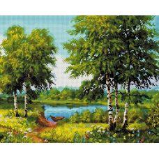Алмазная мозаика За околицей, 40x50, полная выкладка, Белоснежка