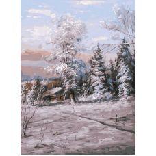 Картина по номерам Зимний день, 30x40, Белоснежка