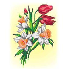Набор для вышивания крестом Букет нарциссов и тюльпанов, 16x21 (21x30), МП-Студия