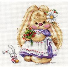 Набор для вышивания крестом Зайка Ми. Земляника, 13x13, Алиса