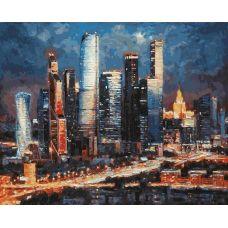 Живопись по номерам Вечерние огни Москва-Сити, 40x50, Белоснежка