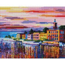 Алмазная мозаика Озеро Комо-Белладжио, 20x25, полная выкладка, Белоснежка