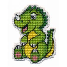 Набор для вышивания крестом Значок Динозаврик, 4x4,8, Овен