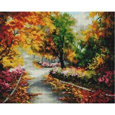 Алмазная мозаика Осенняя мелодия, 40x50, полная выкладка, Белоснежка