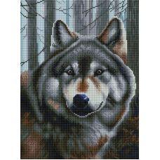 Алмазная мозаика Волк, 30x40, полная выкладка, Белоснежка