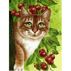 Живопись по номерам Кот на вишневом дереве, 30x40, Белоснежка