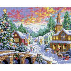 Алмазная мозаика Рождественская ночь, 40x50, полная выкладка, Белоснежка