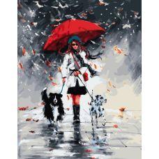 Живопись по номерам Осенняя прогулка под дождем, 40x50, Paintboy, GX33908