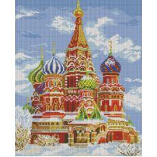 Алмазная мозаика Храм Василия Блаженного, 40x50, полная выкладка, Белоснежка
