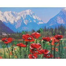 Набор для вышивания бисером Маки и горы, 28x35, МП-Студия