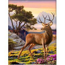 Мозаика стразами Благородный олень, 30x40, полная выкладка, Алмазная живопись
