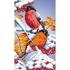 Набор для вышивания крестом Снегири, 13x22 (21x30), МП-Студия