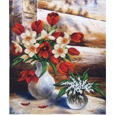 Набор для вышивания бисером Майские цветы, 34x42, Магия канвы