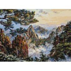 Алмазная мозаика Китай. Хуаншань, 30x40, полная выкладка, Белоснежка