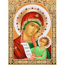 Мозаика стразами Икона Богородица Утоли Мои Печали, 30x40, полная выкладка, Алмазная живопись