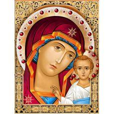 Мозаика стразами Икона Казанская Богородица, 30x40, полная выкладка, Алмазная живопись