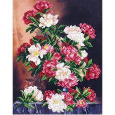 Набор для вышивания бисером Живописные пионы, 28x36, Магия канвы