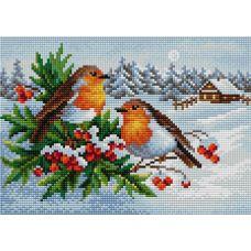 Алмазная мозаика на магнитной основе Птицы на зимней рябине, 20x28,5, полная выкладка, Вышиваем бисером