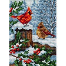 Алмазная мозаика на магнитной основе Зимние птицы, 20x28,5, полная выкладка, Вышиваем бисером