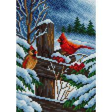 Алмазная мозаика на магнитной основе Птицы на ограде, 20x28,5, полная выкладка, Вышиваем бисером