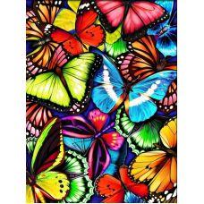 Мозаика стразами Яркие бабочки, 30x40, полная выкладка, Алмазная живопись