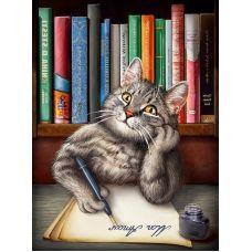 Мозаика стразами Кот ученый, 30x40, полная выкладка, Алмазная живопись